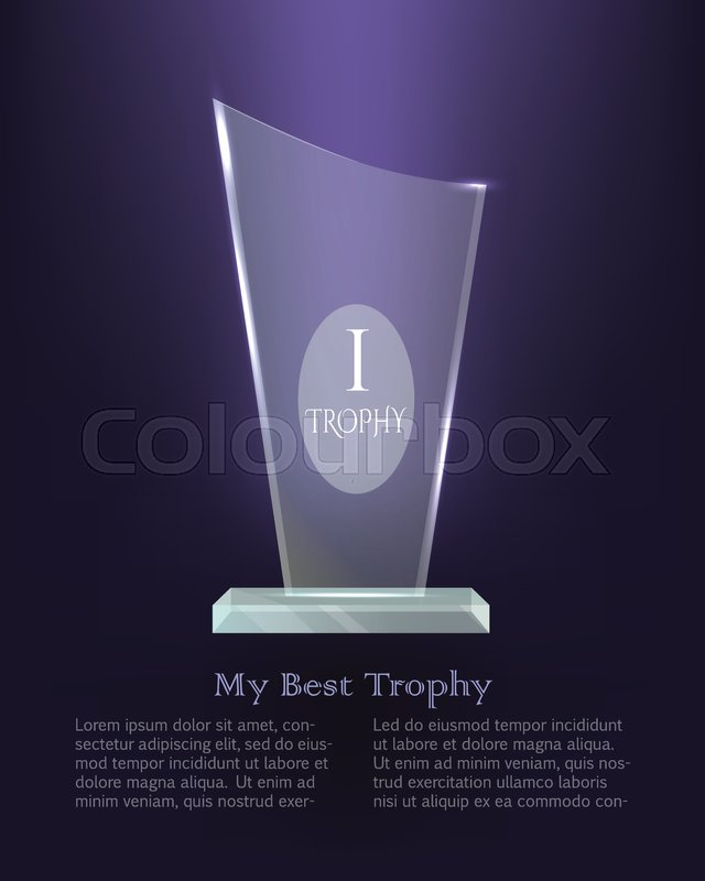 Contemporary Realistic Award On Plate Basement Bright Dark Background First Place Great Achievement Glossy Shiny Crystal Flat Design