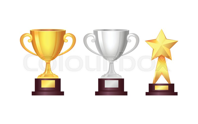 Trophy Awards Set Golden Cup And Silver Star Big Bright