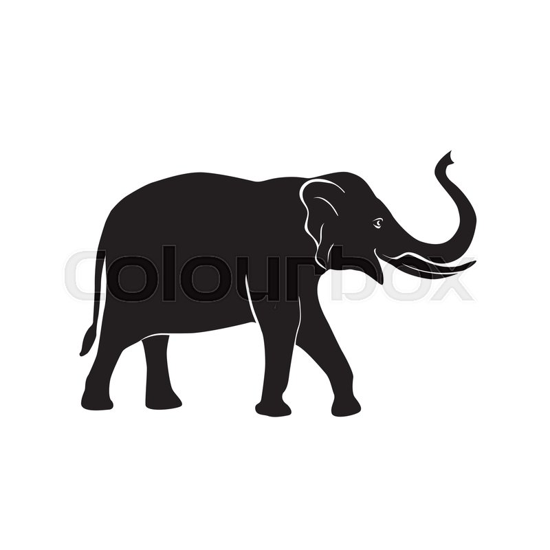 African Elephant Simple Symbol Vector Silhouette Illustration