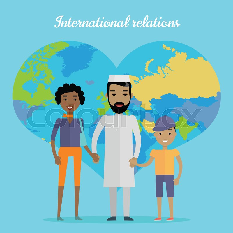 International relations vector concept flat design interracial arab man african woman mulatto boy standing and holding hands on blue background with world map in shape of heart vector gumiabroncs Choice Image