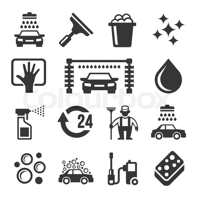 Car Wash Icons Set On White Stock Vector Colourbox