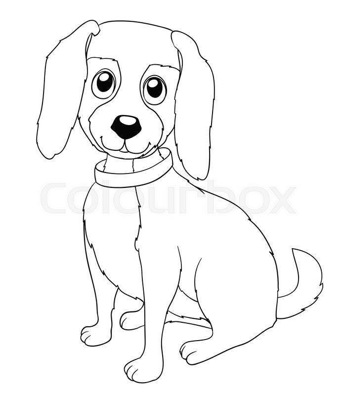 Cute Cartoon Doggy With Collar On White. Coloring Page Version Vector,  Vector