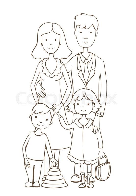 Cute Cartoon Happy Family On White Stock Vector