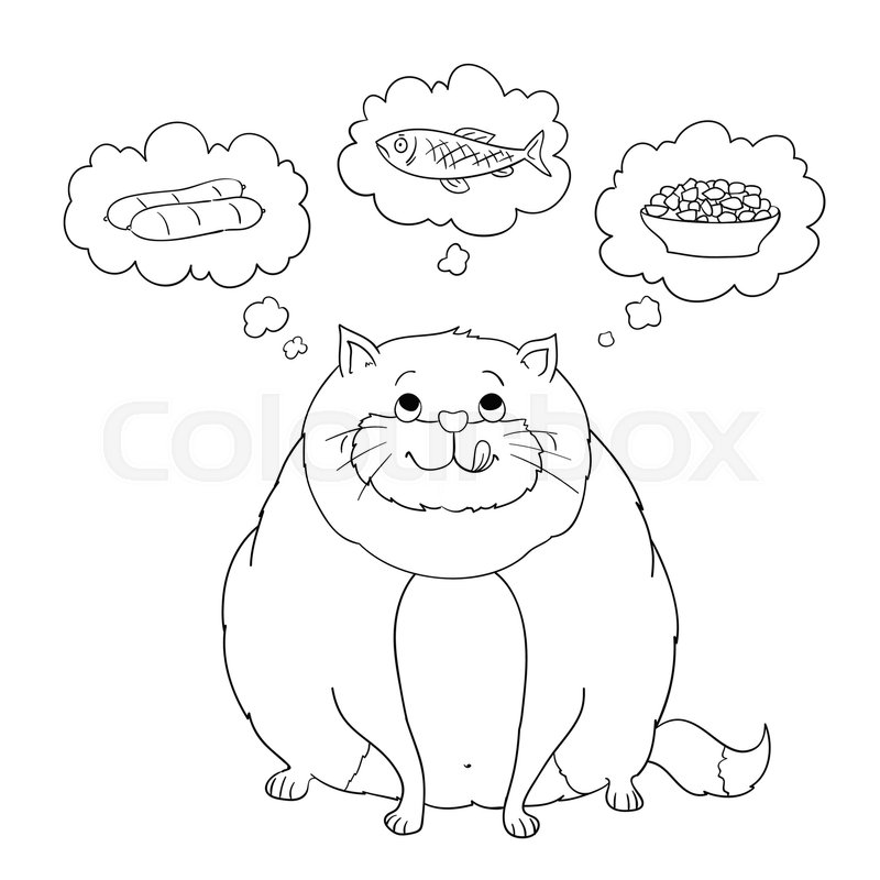 Funny Cartoon Fat Cat Thinking About Sausage Fish Food Coloring Page Version Vector