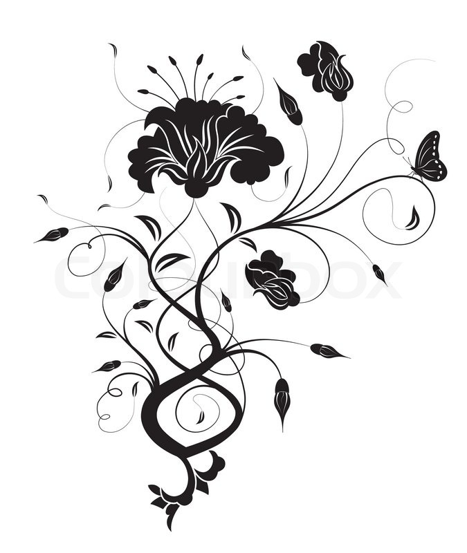 Line Art Aplic Flower Design : Abstract flower with butterfly element for design vector