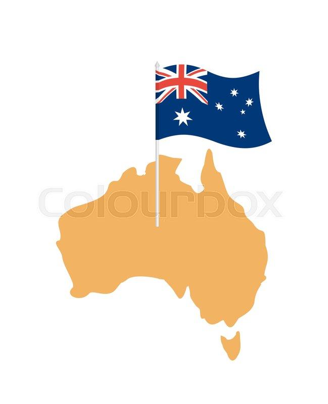 Australia Map Vector With States.Australia Map And Flag Australian Stock Vector Colourbox