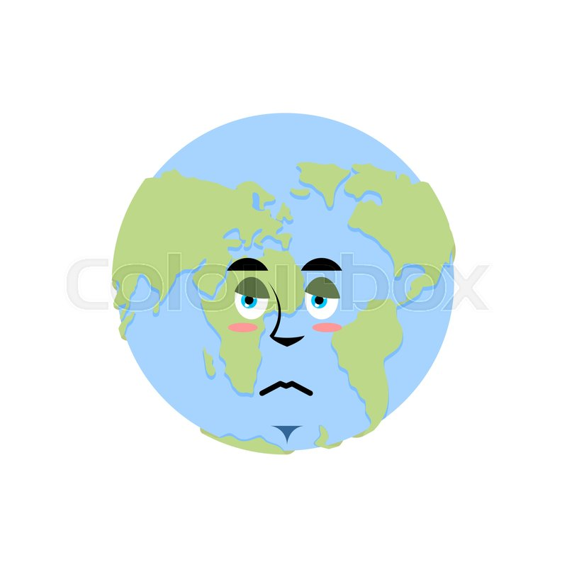 Earth Sad Emoji Planet Unhappy Stock Vector Colourbox