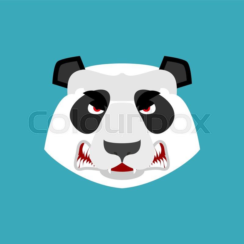 Panda angry Emoji. Chinese bear Aggressive emotion isolated , vector