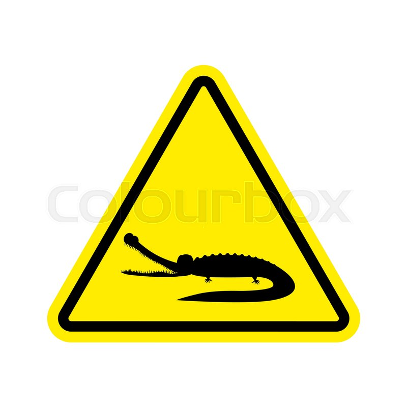attention crocodile alligator on yellow triangle road sign caution