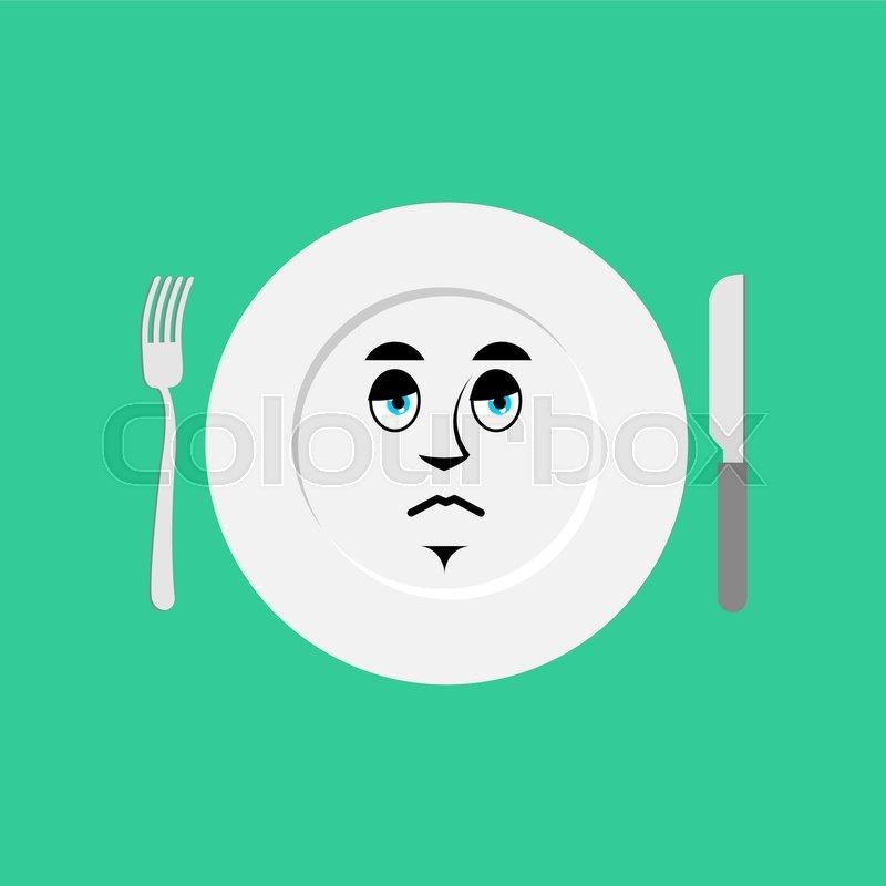 Plate sad Emoji. Empty dish isolated sorrowful emotion , vector