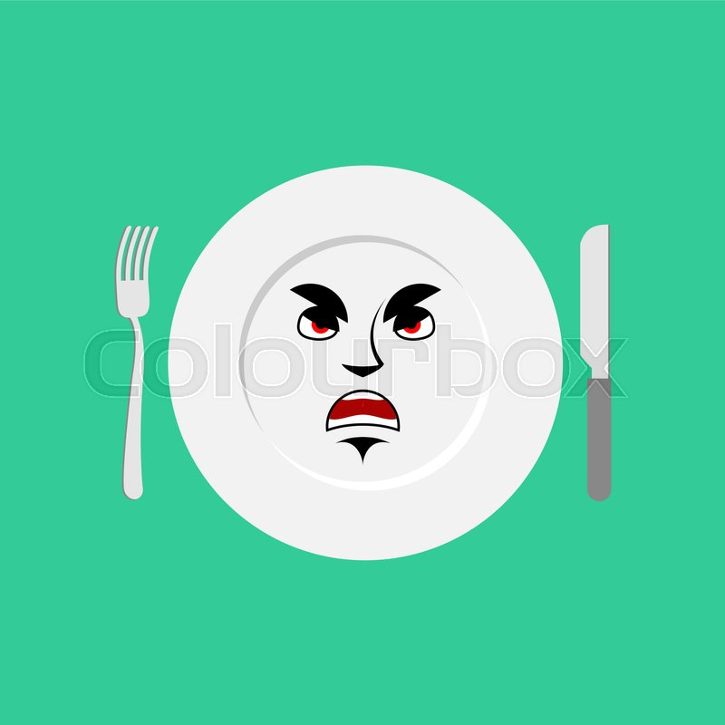 Plate angry Emoji. Empty dish isolated aggressive emotion , vector