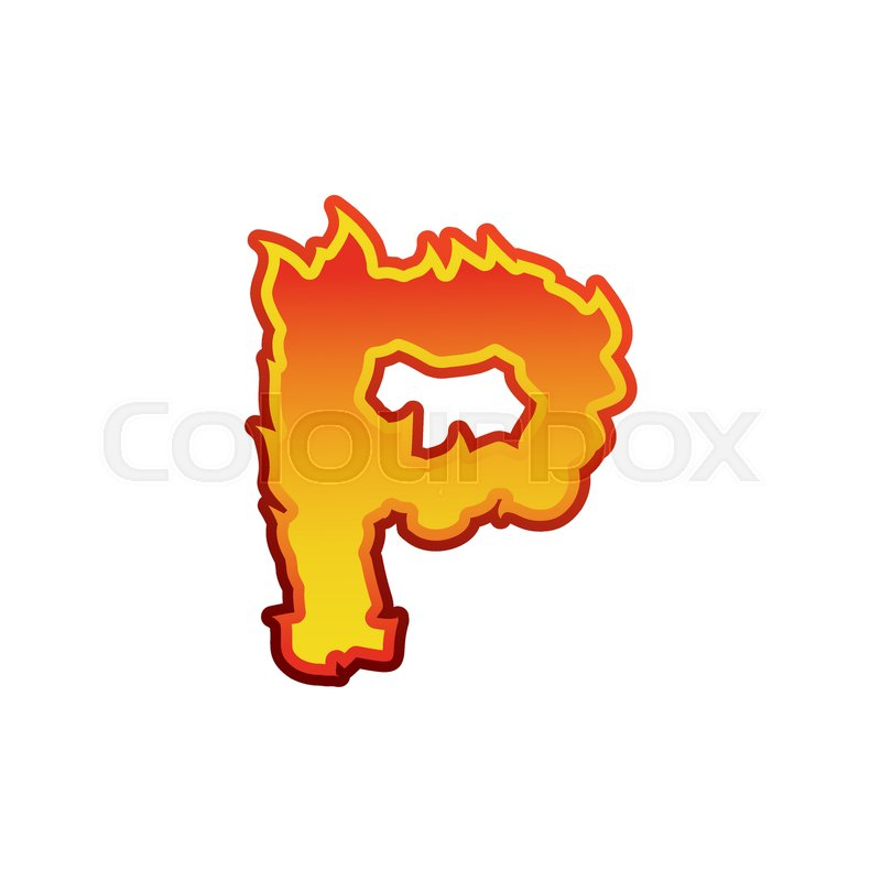 Letter P Fire Flames Font Lettering Tattoo Alphabet Character Fiery Sign Vector