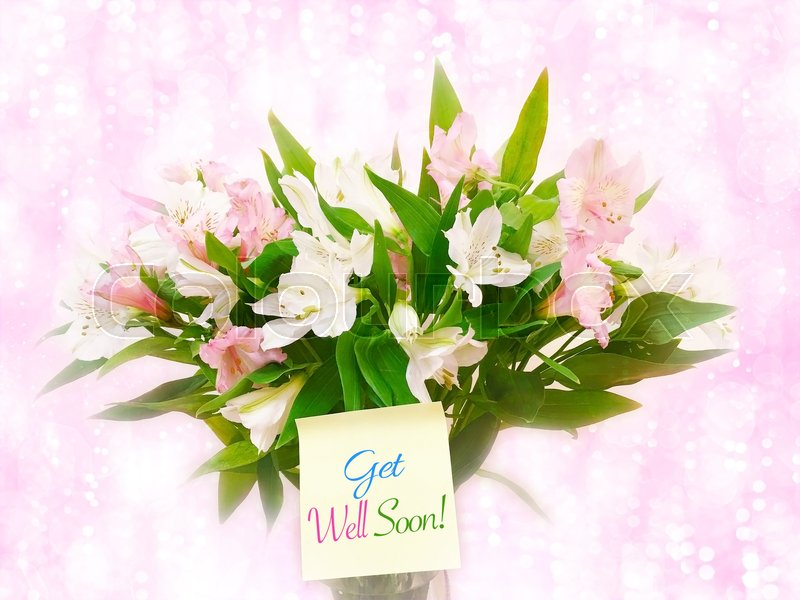Bouquet of pink and white flowers on pink glitter bokeh background ...