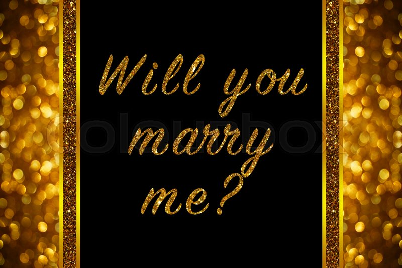Will you marry me? word on rose gold bokeh abstract background, stock photo