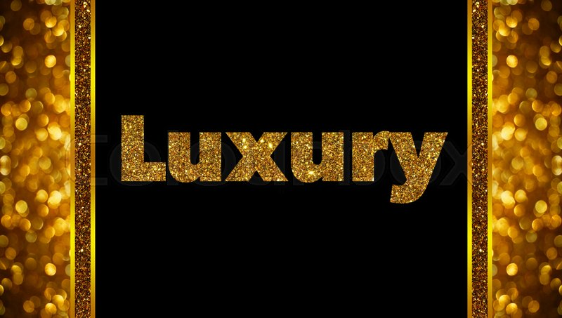 Luxury word on rose gold bokeh abstract background, stock photo
