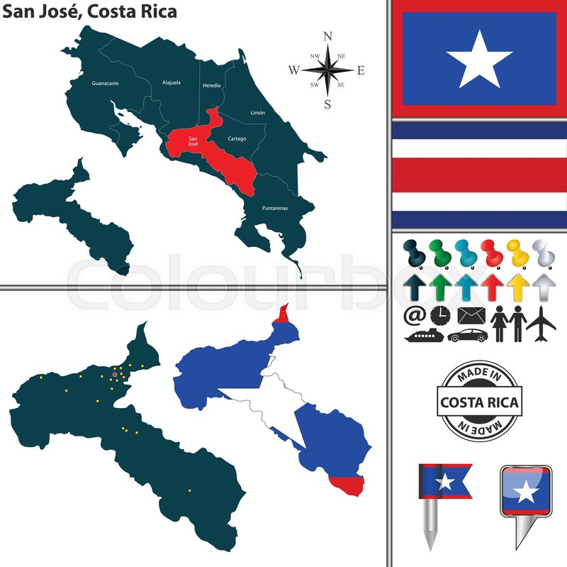 Vector map of province San Jose with ... | Stock vector | Colourbox