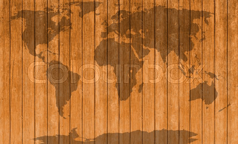 Vintage map of wooden texture background , stock photo