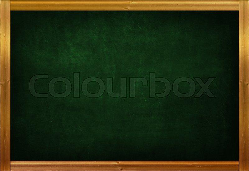 Vintage green blackboard background with gold wooden frame for design, stock photo
