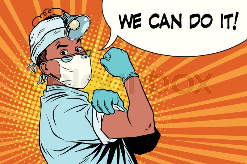 Doctor African American We Can Do It Vintage Pop Art Retro Illustration Medicine And Health Care Vector