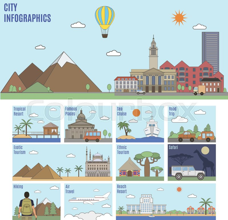 City infographics. Different types of recreation and tourism, vector