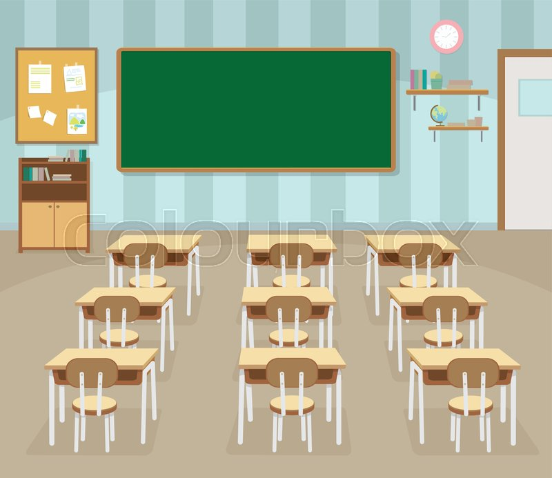 School Classroom With Chalkboard And Stock Vector