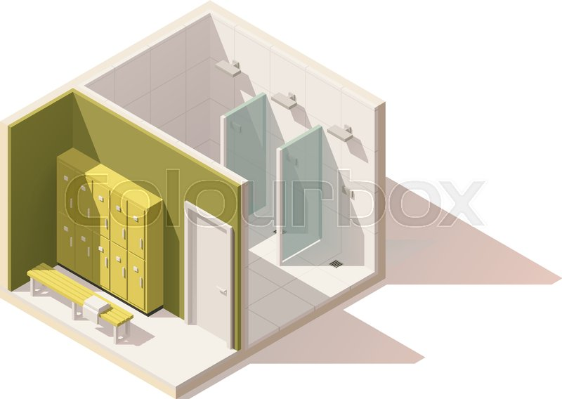 Vector isometric low poly gym locker stock