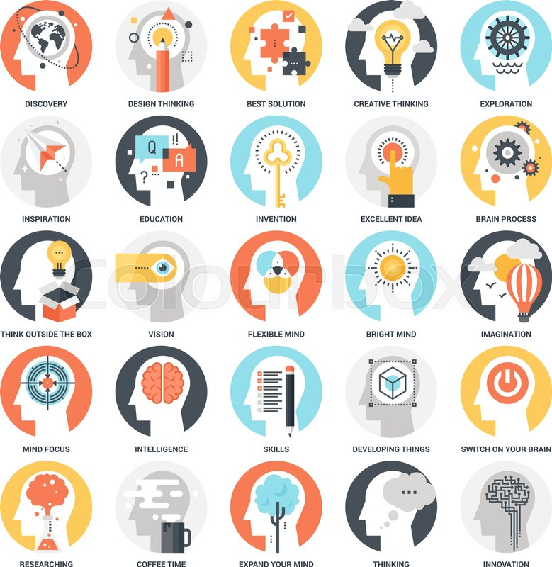 Modern Flat Vector Illustration Of Imagination And Mind Power Icon