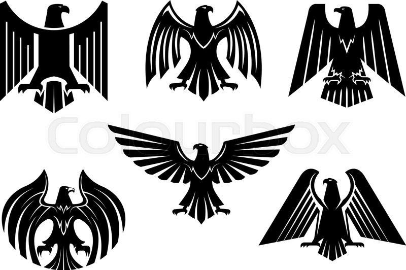 Black Heraldic Eagle Icons Set Or Vulture Bird Isolated Emblem