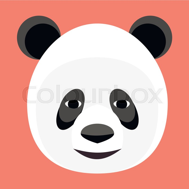 Baby Panda Face Logo Template Icon Asian Bear Head Isolated On White Background