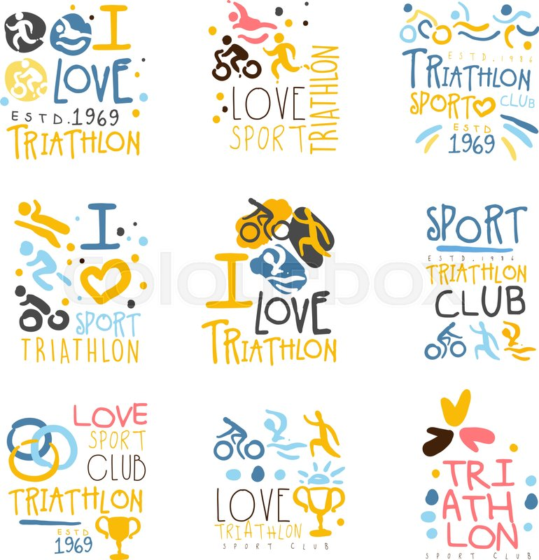 triathlon supporters and fans club for people that love sport set of colorful promo sign design templates bright color promotional vector labels with text