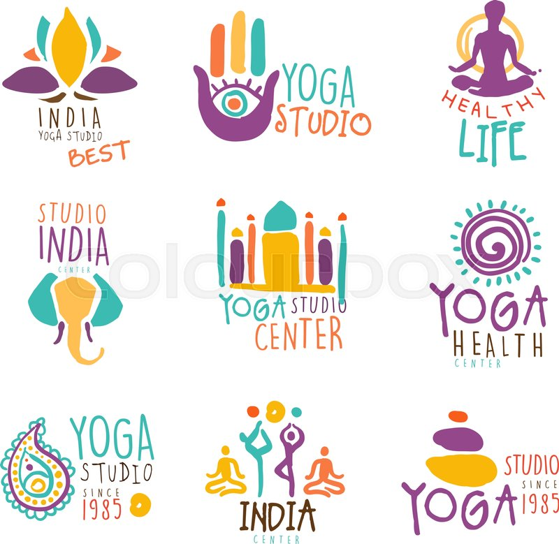 stock vector of yoga center set of colorful promo sign design templates with different indian