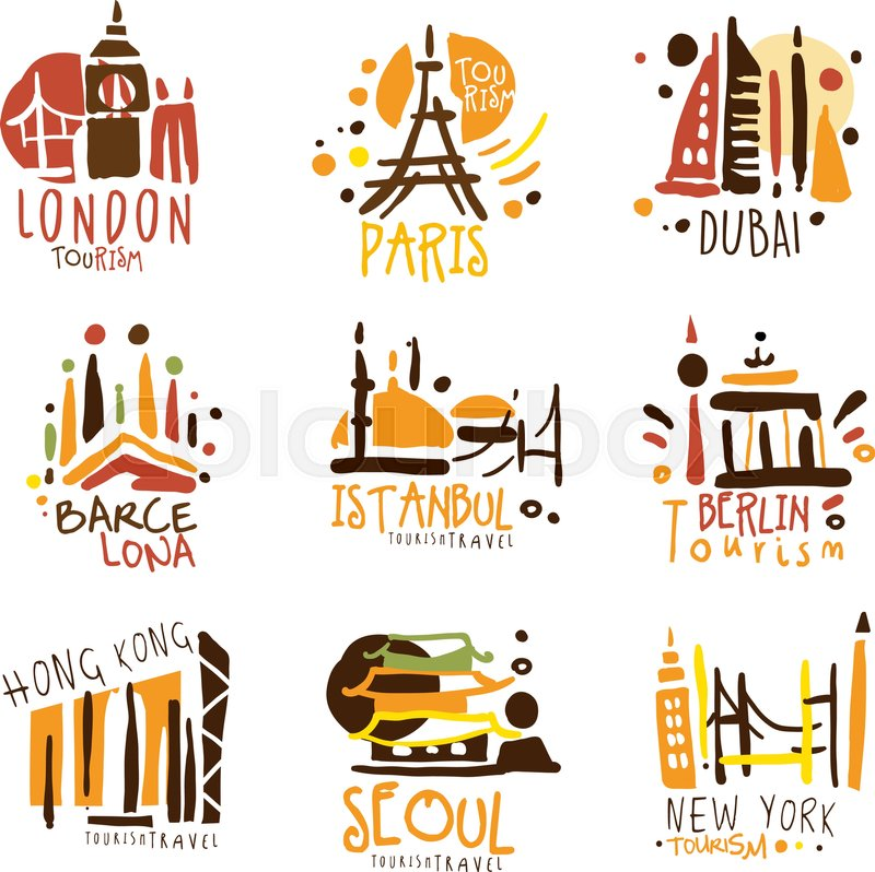 stock vector of touristic travel agency set of colorful promo sign design templates with different