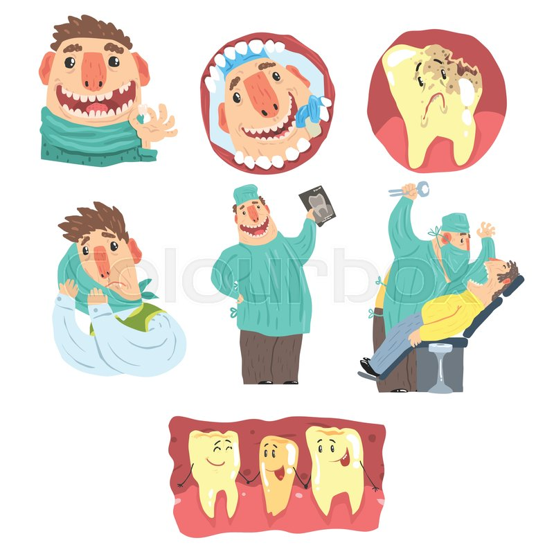 Funny Cartoon Dentist And Patient Illustration Set With Dental Care Procedures Humanized Teeth Characters Doctor Extracting Bad Tooth From The Mouth Of