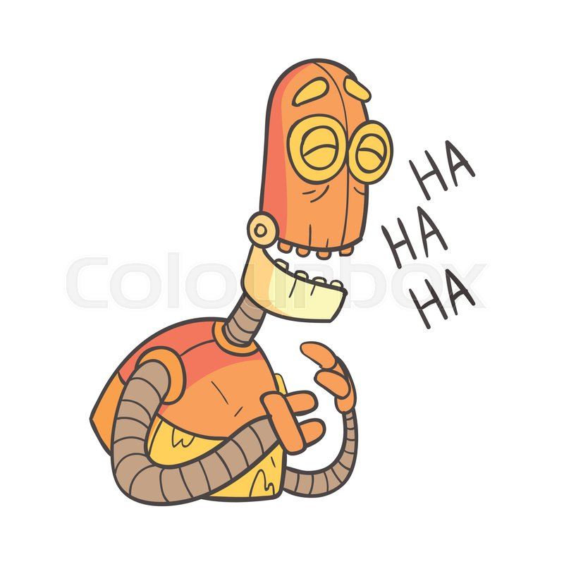Laughing Orange Robot Cartoon Outlined       Stock vector