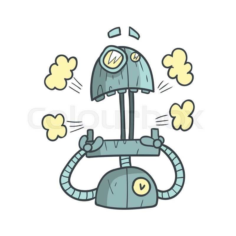 Shocked And Scared Blue Robot Cartoon Outlined Illustration With Cute Android And His Emotions. Comic Vector Sticker With Humanoid Artificial Intelligence Character, vector