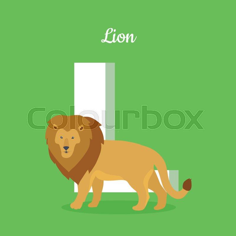 animals alphabet. letter - l. brown lion stands near letter