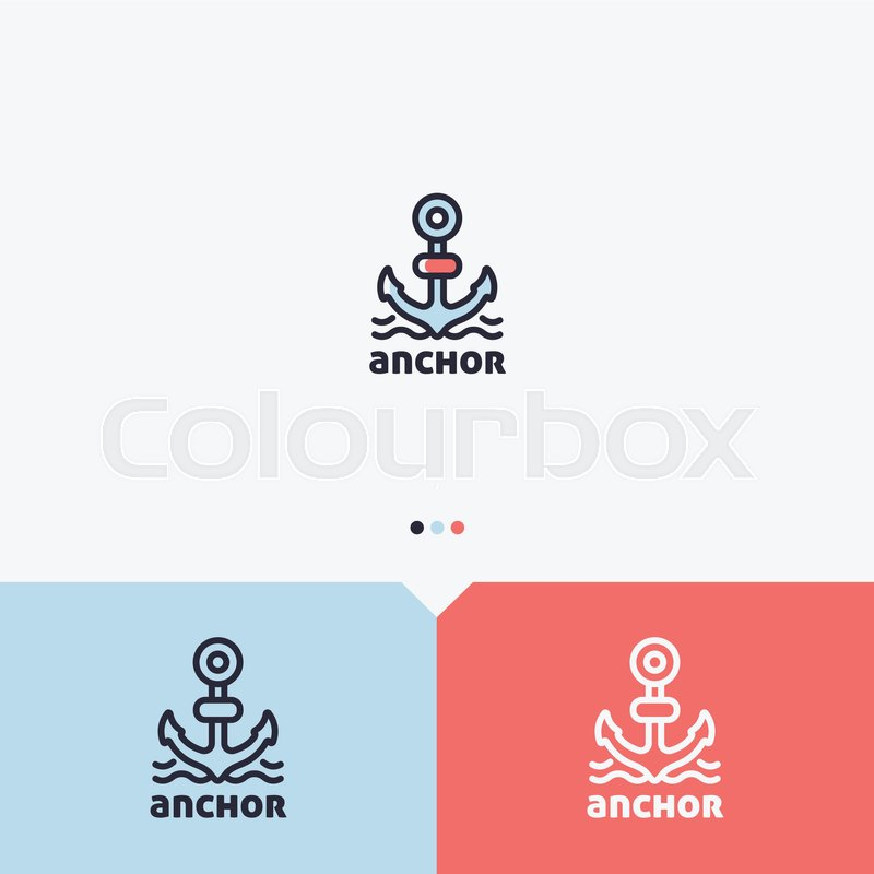 Anchor logo design template simple and clean outline style color anchor logo design template simple and clean outline style color and monochromatic version vector vector thecheapjerseys Images