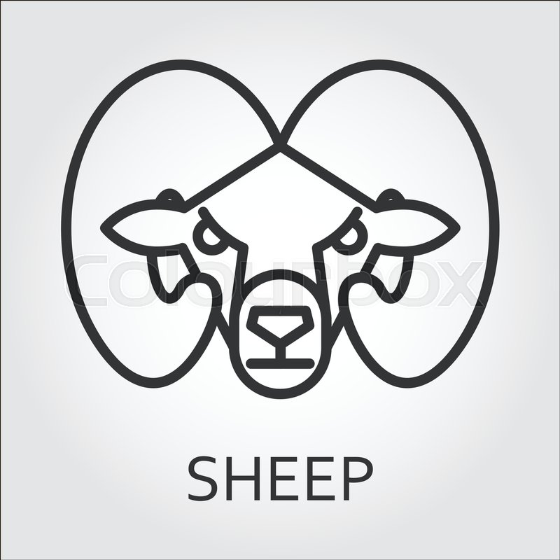 Outline Symbol With Stylized Image Of A Head Wild Animal Mountain Sheep Ram Stroke Vector Logo Mono Linear Pictogram Web Graphics