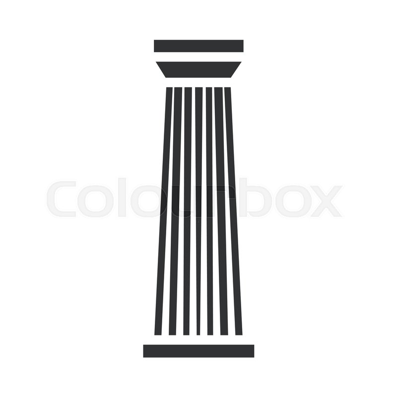 Black Metal Pillar Building : Black column pillar icon isolated on white background