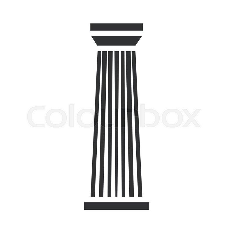 Black Column Pillar Icon Isolated On White Background