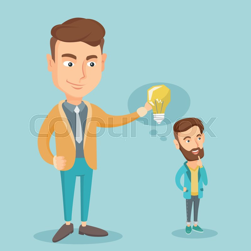Cheerful Caucasian Business Man Giving Idea To His Partner Young Holding Light Bulb Over Head Of Collegue Concept