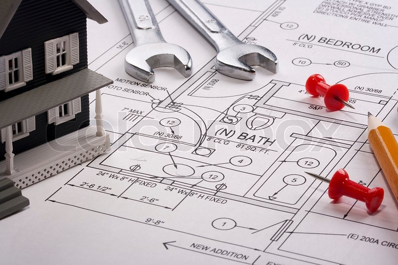 House Model And Drafting Tools On A Construction Plan | Stock Photo |  Colourbox