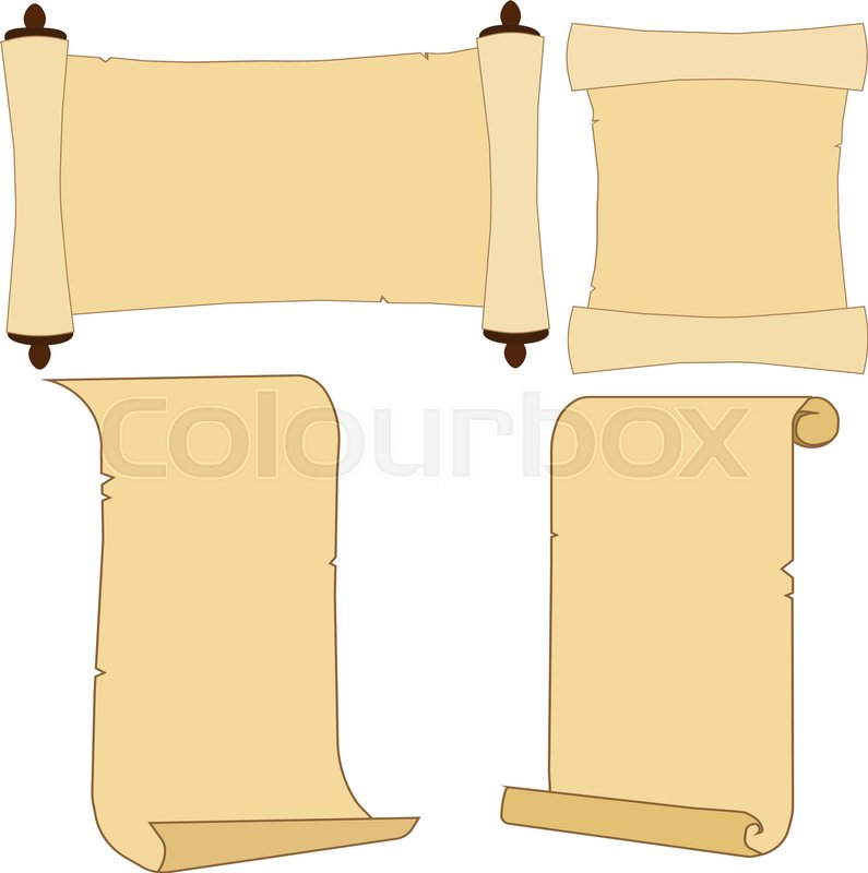 old parchment scroll set stock vector colourbox