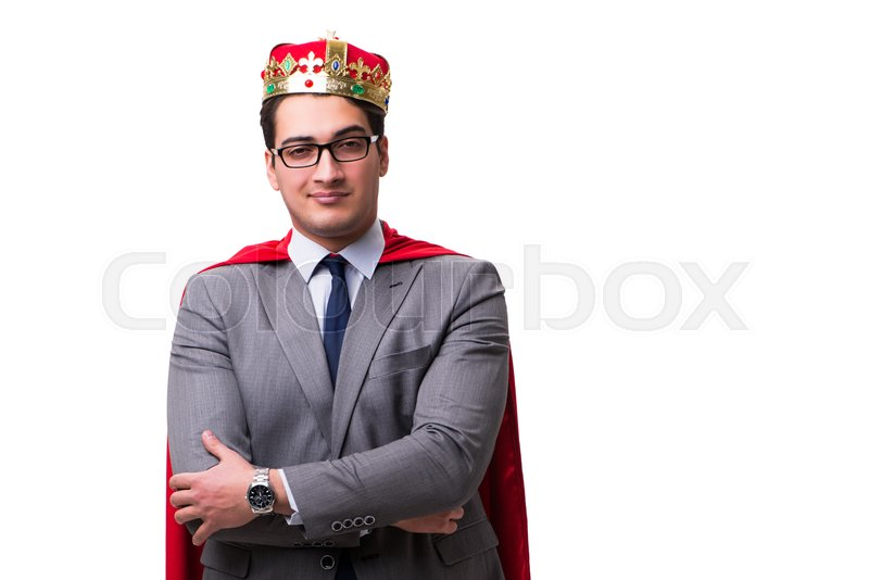 Stock image of 'King businessman wearing red cover on white'