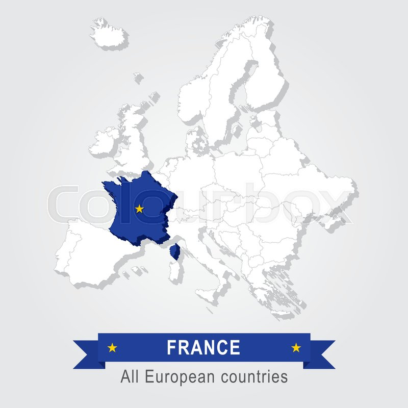 France Europe Administrative Map Stock Vector Colourbox