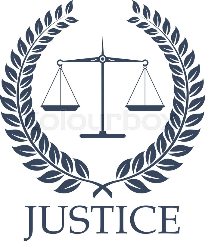 Legal Or Law Icon With Symbols Of Justice Scales And Heraldic Laurel