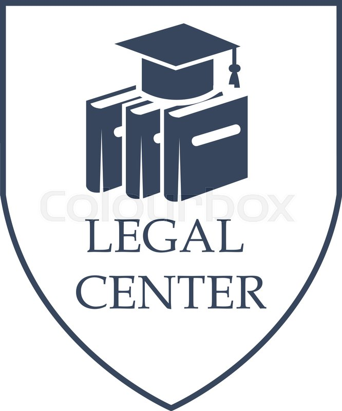 Advocacy And Legal Center Vector Icon With Symbols Of Law Code Books