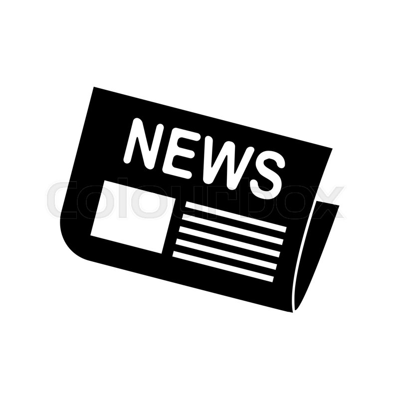 Newspaper Sign Flat Style Black Icon On White Vector