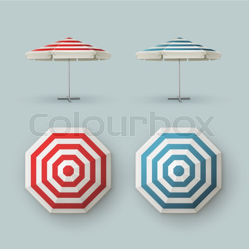 Stock Vector Of U0027Vector Set Of White Blank Red Blue Striped Patio Outdoor  Market Beach