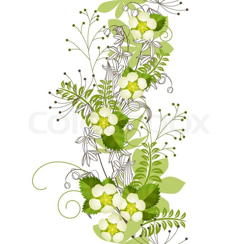 Nahtlose Patten mit Wald Blumen und Pflanzen | Vektorgrafik | Colourbox